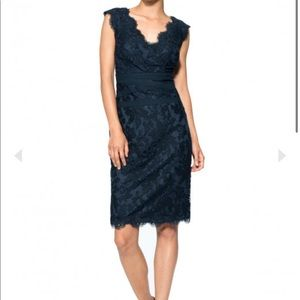 TADASHI JOSHI EMBROIDERED LACE V-NECK NAVY DRESS 6